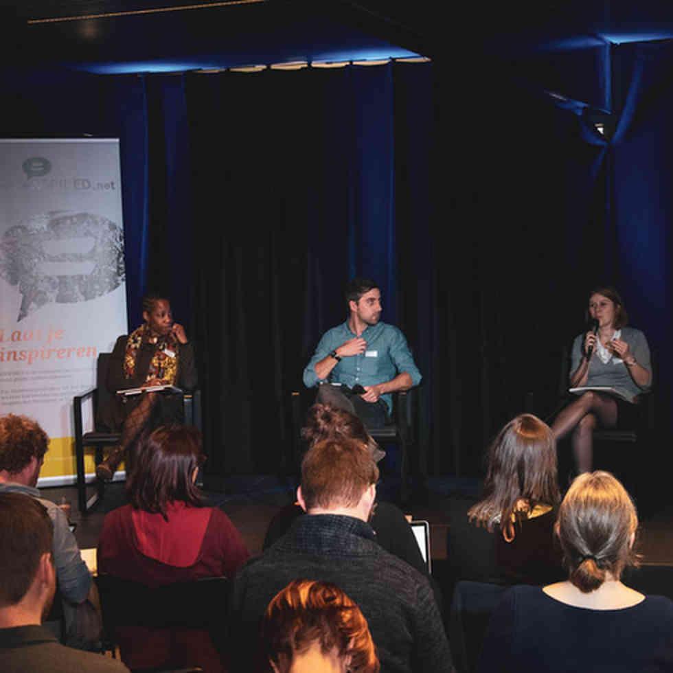 madeleine kennedy-mcfoy, Wim Slabbinck en Wendelien Vantieghem in dialoog